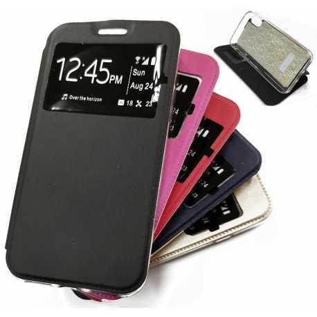 Funda Libro con Ventana con Soporte para IPHONE 6 / 6S (Sin solapa) Negro Azul Rojo Rosa Morado